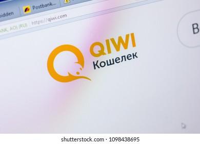 Ryazan, Russia - May 20, 2018: Homepage of Qiwi website on the display of PC, url - Qiwi.com.