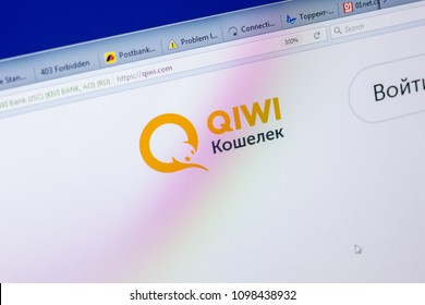 Ryazan, Russia - May 20, 2018: Homepage of Qiwi website on the display of PC, url - Qiwi.com.