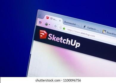 Ryazan, Russia - May 27, 2018: Homepage of SketchUp website on the display of PC, url - SketchUp.com.