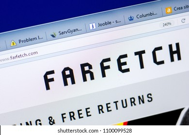 Ryazan, Russia - May 27, 2018: Homepage of FarFetch website on the display of PC, url - FarFetch.com.