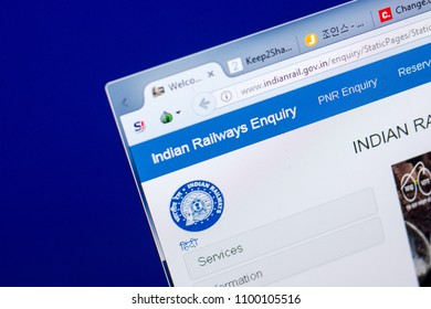 Ryazan, Russia - May 27, 2018: Homepage of Indian Railways Enquiry website on the display of PC, url - IndianRail.gov.in.