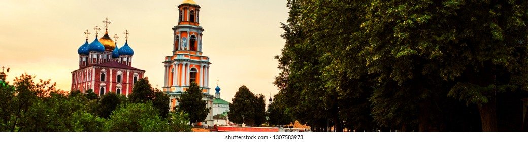 Ryazan, Russia. Morning view of Bell tower and Cathedral of Ryazan Kremlin at sunrise, Russia. View of the popular touristic town in Russia in the morning