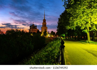 Ryazan, Russia. Night view of Bell tower and Cathedral of Ryazan Kremlin at sunset, Russia. View of the popular touristic town in Russia at sunset