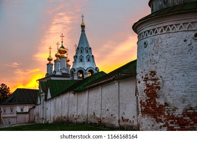 Ryazan, Russia. Night view of illuminated church and Cathedral of Ryazan Kremlin i Russia. Popular touristic town in Russia at sunset