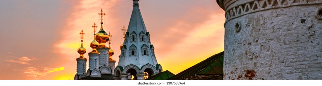 Ryazan, Russia. Night view of illuminated church and Cathedral of Ryazan Kremlin in Russia. Popular touristic town in Russia at sunset