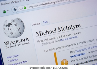 Ryazan, Russia - September 09, 2018 - Wikipedia page about Michael McIntyre on a display of PC.