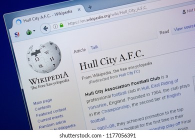 Ryazan, Russia - September 09, 2018 - Wikipedia page about Hull City A.F.C. on a display of PC.