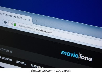Ryazan, Russia - September 09, 2018: Homepage of Movie Fone website on the display of PC, url - MovieFone.com