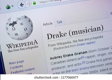 Ryazan, Russia - September 09, 2018 - Wikipedia page about Drake on a display of PC.