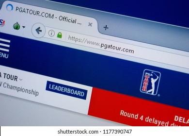 Ryazan, Russia - September 09, 2018: Homepage of Pga Tour website on the display of PC, url - PgaTour.com