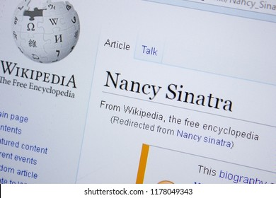 Ryazan, Russia - September 09, 2018 - Wikipedia page about Nancy Sinatra on a display of PC.