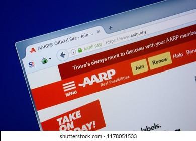 Ryazan, Russia - September 09, 2018: Homepage of Aarp website on the display of PC, url - Aarp.org