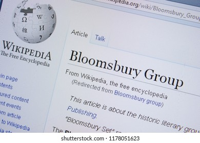 Ryazan, Russia - September 09, 2018 - Wikipedia page about Bloomsbury Group on a display of PC.