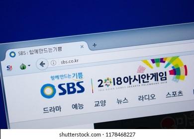 Ryazan, Russia - September 09, 2018: Homepage of Sbs website on the display of PC, url - Sbs.co.kr