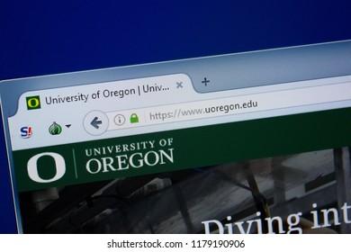 Ryazan, Russia - September 09, 2018: Homepage of Uoregon website on the display of PC, url - Uoregon.edu