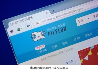 Ryazan, Russia - September 09, 2018: Homepage of File Lon website on the display of PC, url - FileLon.com