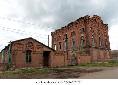 "RYAZHSK, RUSSIA - OCTOBER 20, 2017:Abandoned building ""Treasury wine warehouse No. 2"" - a winery of the XIX century in the city of Ryazhsk, Ryazan region"