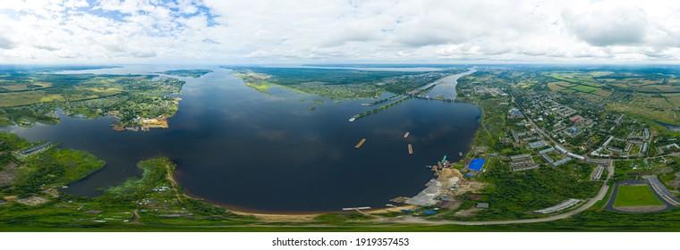 Rybinsk, Russia. Rybinsk Gateway system. Rybensoe reservoir. Aerial view. Panorama 360