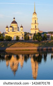 Rybinsk, Russia - June, 10, 2019: landscape with the image of Volga embankment in Rybinsk, Russia at sunrise