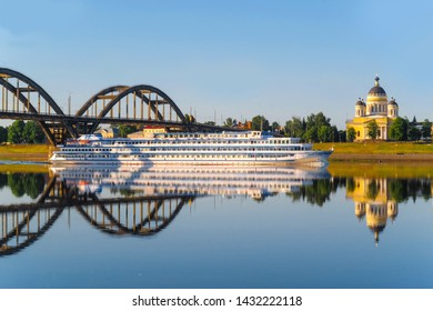 Rybinsk, Russia - June, 10, 2019: landscape with the image of a passenger ship on the Volga River, in the city of Rybinsk, Russia
