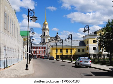 Rybinsk, Russia - June 13, 2020: View of the street in centre of Rybinsk town, Russia.