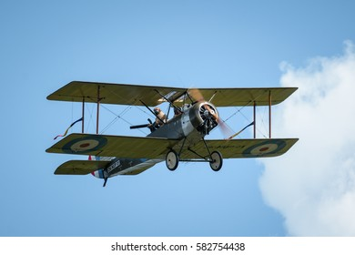 RYBNIK, POLAND - JUNE 18, 2016: Historical plane Sopwith 1½ Strutter replica in flight