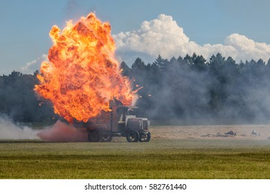 RYBNIK, POLAND - JUNE 18, 2016: German old historical truck replica explosion after airplane bombing