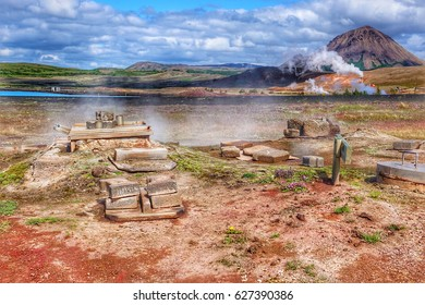 Rye Bread baked underground in geotermal springs, geothermal area Namafjall, Hverir, Myvatn. Iceland