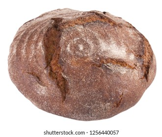 Rye bread with crispy crust isolated on a white background