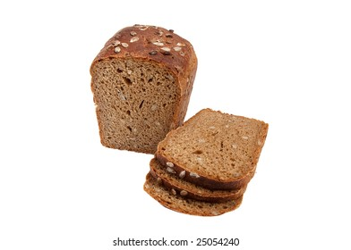 Rye bread full of seeds isolated on a white background.