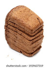 Rye bread on a white plate. Close-up