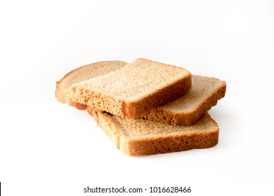 Rye bread slice isolated on a white background