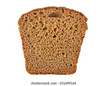 Rye bread slice isolated on white background