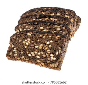 Rye bread with sunflower seeds, isolated on white background. Studio Photo