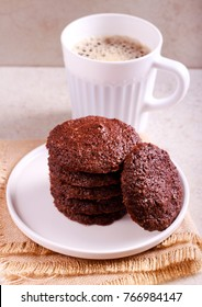 Rye chocolate cookies and cup of coffee,