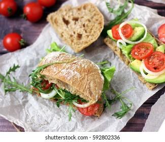 rye ciabatta sandwich