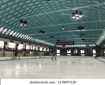 RYE, NY - JUN 3: Ice Rink at Playland Park in Rye, New York, as seen on Jun 3, 2018. The park was built in 1928.