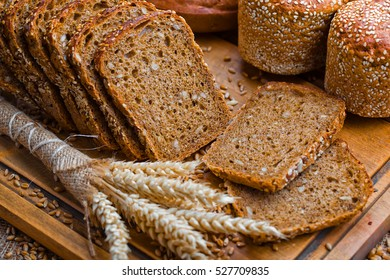 Rye sliced bread on the table