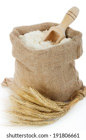 Rye spike and flour in burlap bag