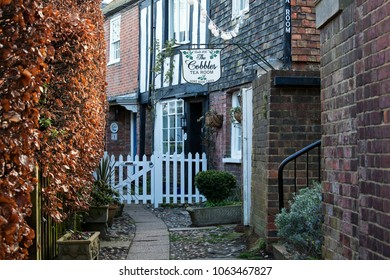 RYE, UK - APRIL 5th, 2018: Traditional tea room in  Rye, East Sussex; Rye is a medival english town and popular tourist destination.