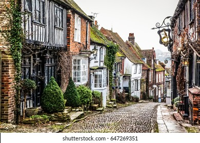 RYE, UNITED KINGDOM January 21, 2017: pretty Tudor half timber houses on a cobblestone street at Rye in West Sussex