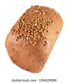 Rye wheat bread with coriander on the crust on a light background
