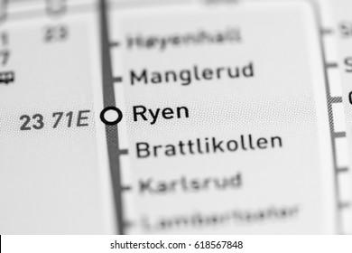 Ryen Station. Oslo Metro map.