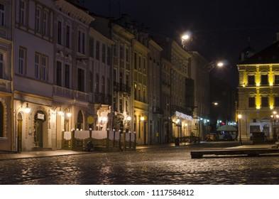 Rynok Square in Lviv (Lvov) at night