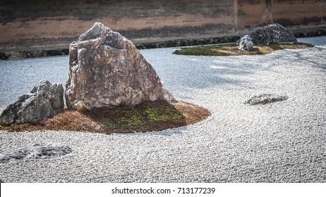 Ryoanji Temple rock garden in Kyoto, Japan.
