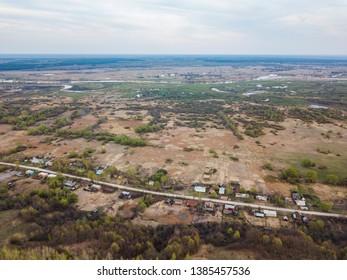 Rysli village. Morshansky district of the Tambov region, Russia. Aerial view
