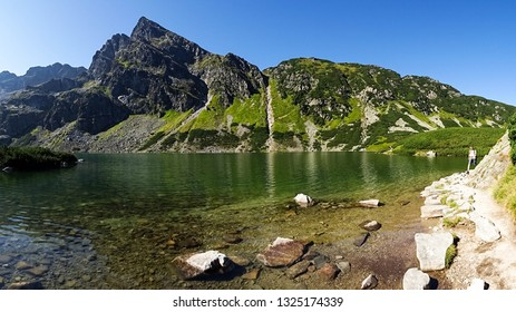 Rysy / Poland - 08 30 2017: spectacular view on Morskie Oko (Eye of Sea) beautiful lake in Tatras mountains, Tatras National Park, close to Zakopane city, Eastern Europe, viewed from Rysy mountain