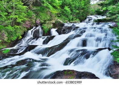 Ryuzu Falls (Dragon's Head Waterfall)  at Nikko National Park, Tochigi Prefecture, Japan. June 4, 2017.