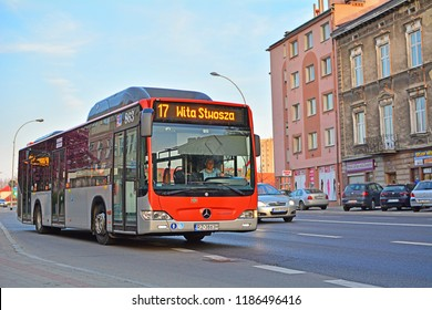 RZESZOW, POLAND - APRIL 19, 2018 - Mercedes Citaro CNG (Compressed Natural Gas) bus, one of many alternative fuel vehicle in the  urban bus fleet of MPK Rzeszow