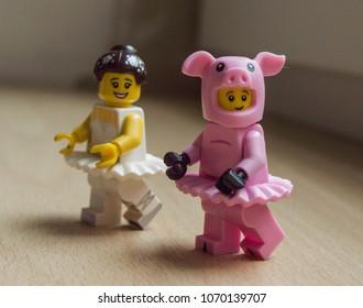 Rzeszow, Poland - April 2017 - lego  minifigure balet dancer and pig man